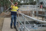Daniel Partridge at work at one of SA Water's wastewater treatment plants.