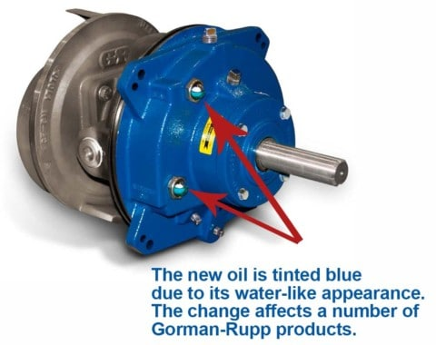 "Gorman-Rupp pumps now using ""blue oil"""